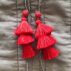 Sugarfix Red Tassel Earrings